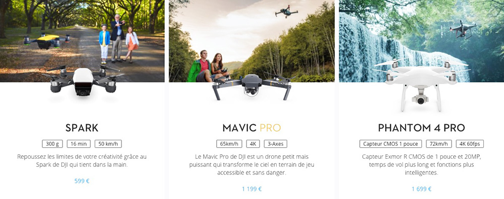 DJI collection phantom mavic spark