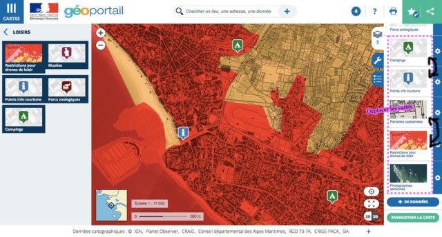 geoportail donnees estrictions drones de loisir