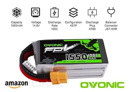 OVONIC Batterie FPV LiPo 14.8 V 1550 mAh 100C 4S avec connecteur XT60 pour FPV Racing RC