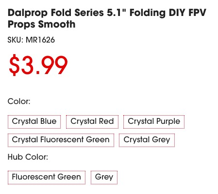DAL Folding 5inch prop color choice